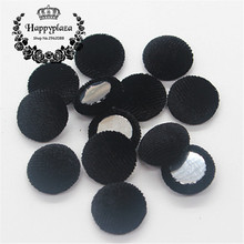 15mm 50pcs Black Korean Velvet Fabric Covered Round Home Sewing Buttons Flatback DIY Scrapbook Craft