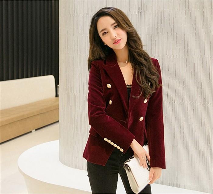 2016 New Spring Fashion Women Midnight Navy Slim Velvet Blazer Jacket Double Breasted simple Lady Blazers (23)