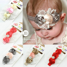 1piece new 2016 baby&kids rose flower with diamond headband baby girl hair wear head bands children hair accessories(China)
