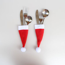 6 pcs/lot Mini Christmas hat cutlery cover Christmas decorations products Holiday party New Year gifts toys Free shipping