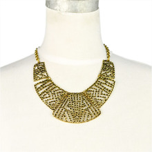 NEW DESIGN! Vintage Style Egyptian style antique golden and silver metal Hollow out mesh heavy choker necklace, NL-1884
