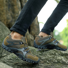 Genuine Leather men hiking shoes breathable waterproof men outdoor sneakers 2016 climbing mountains sport walking trekking shoes