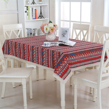 Square Linen Printed Table Cloth Decoration Home Dining Table Clothes