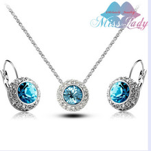 United States  Moon River  Rose GP   Moon River Crystal Jewelry Sets NECKLACE EARRINGS  SET Jewelry for USA Style