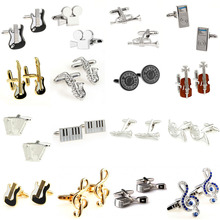 Fashion Stone Gold Music Note Guitar Trumpet Sax Piano Microphone Cufflink Cuff Link 1 Pair Free Shipping Big Promotion