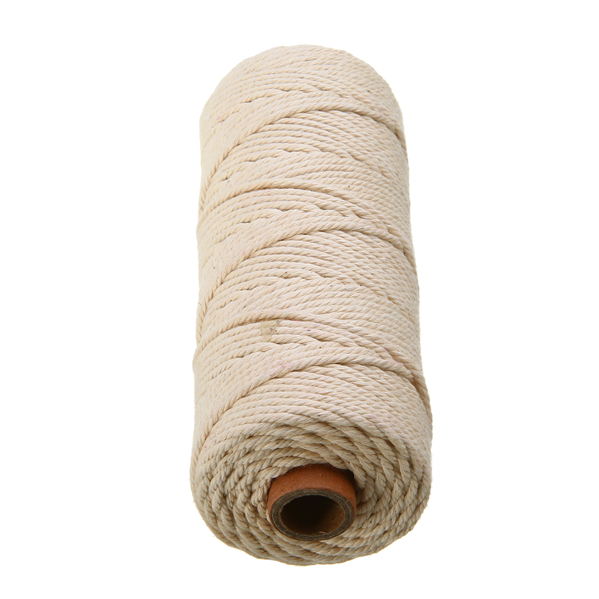 1X Natural Beige Cotton Cord Binding Rope Artisan Handmade Cotton Braided Twist Cord DIY Sewing Fabric Home Decor 3mm Diameter