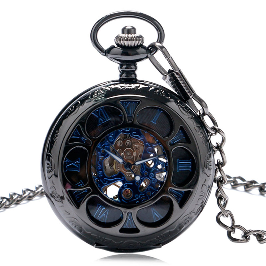 YISUYA Luxury Steampunk Hollow Skeleton Mechanical Pocket Watch Roman Numerals Dial Vintage Fob Chain Pendant Clock Men Women Gifts (1)