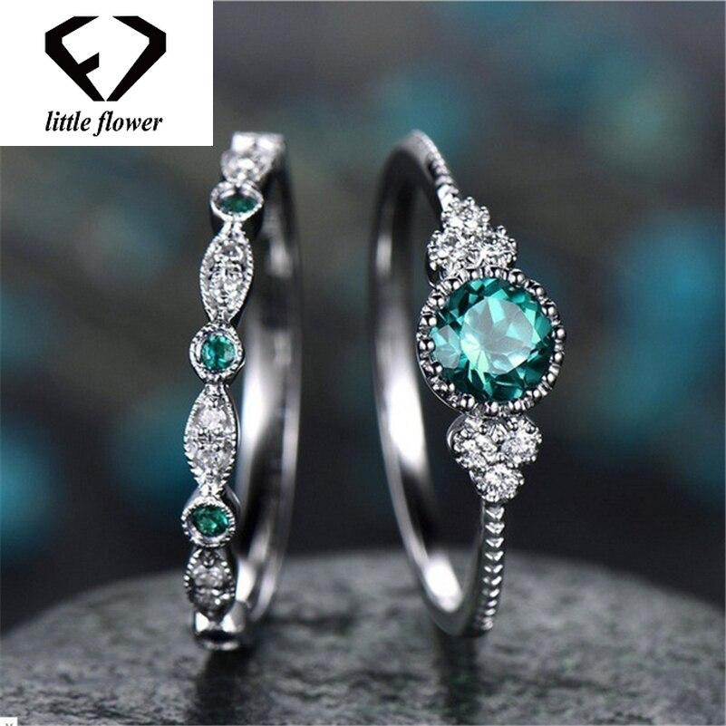 anillo de plata Anillo Anillo de mujer de plata 925 circonita esmeralda verde ovalada