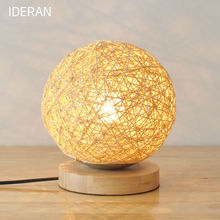IDERAN Antique retro table light dining room candle holder lamp mesalamps rattan lamp LED bedroom gift light
