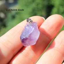 Wholesale Small  Natural Stone Charms Pendant Unique Amethysts Purple Crystal Irregular Women DIY Necklaces  For Jewelry Making