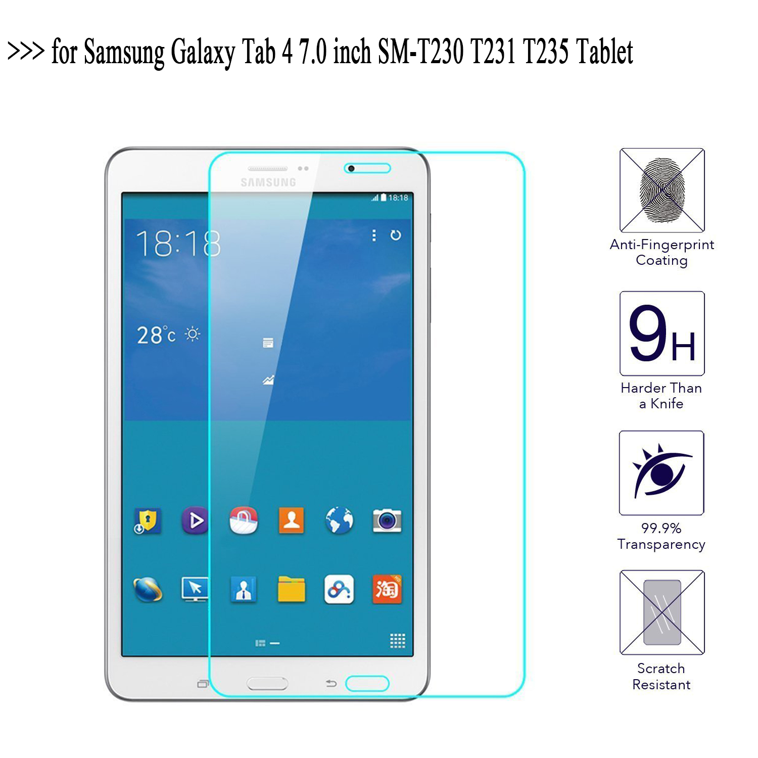 Tempered Glass Screen Protector for Samsung Galaxy Tab 4 7.0 T230 SM-T230 3