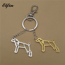 Elfin Trendy Origami Whippet Keychains Gold Color Silver Color Origami Pet Jewellery Greyhound Key Rings For Women Men Pet Lover(China)