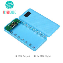3 USB 5V 1A 2A Free Welding Digital Display Mobile Power Bank 7X18650 Battery DIY Kits Charger Circuit Board Step Up Boost 2 LED