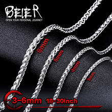 Beier 3mm/4mm/5mm/6mm Width 316L Stainless Steel Men Boy Spiga Plait Necklace Chain Silver Color BN1006 ( 20-32 Inch )