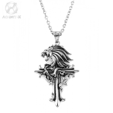 AgentX Men Lion Head Cross Jesus Necklace Fashion Stainless Steel Pendant Dress Accessories Jewelry 70cm Chain +Gift Bag /AAP316