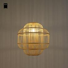 Bamboo Wicker Rattan Shade Pendant Light Fixture Chinese Cottage Style Suspended Ceiling Lamp Lustre Plafon Avize Tatami Room(China)