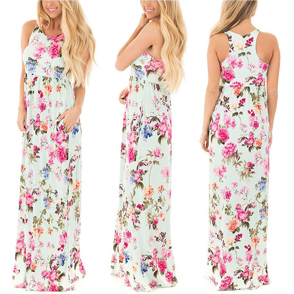 Boho Floral Printed Sundress O-neck Summer Sexy Pleated Maxi Dress 2017 Casual Beachwear Femininos Vestidos Plus Size LX328 18