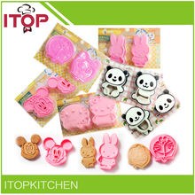 ITOP 5pcs/lot Hello Kitty cat cookie fondant cutter tools 3D cake mould mold biscuit DIY press stamp Mickey Panda Doraemon