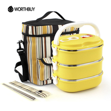 WORTHBUY 304 Stainless Steel Traditional Chinese LunchBox Set Food Fruit Storage Container Portable Bento Box With Tableware Bag(China)