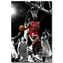 NICOLESHENTING Michael Jordan Dunks Super Basketball Star Art Silk Poster Canvas Print Sport Wall Picture Room Decoration 009