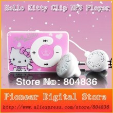 Hot sale 10pcs/lot fashion mini clip hello Kitty MP3 player support TF card with USB Cable Earphone Crystal Box Free shipping