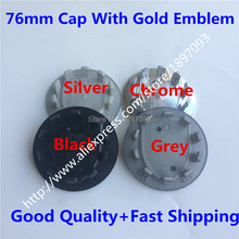 4pcs 76mm New Car Styling Silver/Grey/Black/Chrome with Gold Badge Wheel Centre Cap Caps Cover Emblem Auto Logo