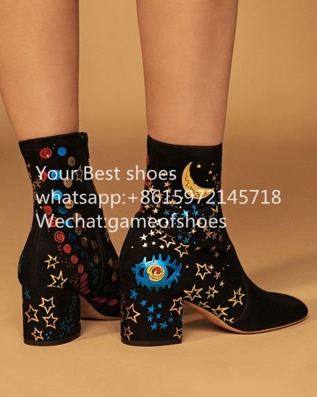 2016 fall Astro Couture Suede ankle boot in soft suede with hand-embroidered round toe block heel short booties <br><br>Aliexpress