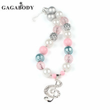 1Pc Pink Chunky Bead Necklace with Rhinestone Music Note Necklace Bubble Gum Bead Necklace for Baby Girls Child Necklace