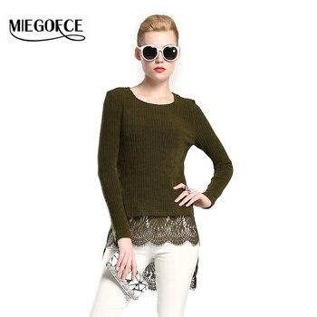 Nueva colección miegofce 2016 mujeres del otoño suéter con cuello redondo y manga larga de punto de encaje mujeres top otoño de las señoras blusas