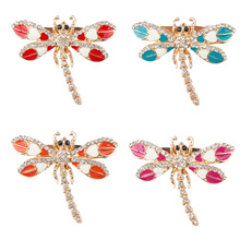 Assorted Colors Wholesale Vivid Enameled Dragonfly Brooch Pins for Women