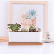 Home decor succulents pots white minimalist ceramic pots with bamboo tray rectangular bonsai pot desktop planting pots creative(China)