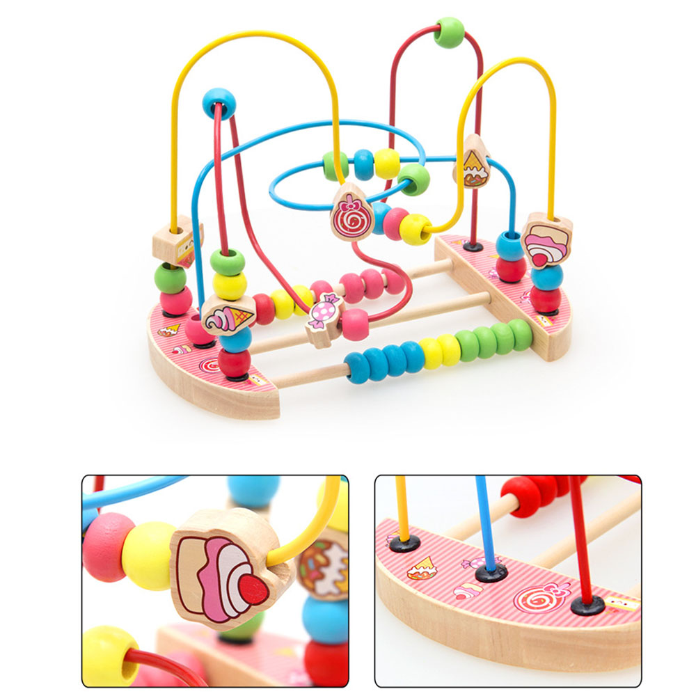 Baby Toys Colorful Bead Maze Child Educational Toy Wooden Animal Fruit Blocks Building Blocks Toy Gift Model Building Kits 6
