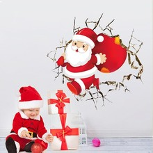 * New Cute Santa Claus Broken Wall Merry Christmas Wall Stickers Living Room Home Decor 3d Vinyl New Year Wall Decal Wallpaper(China)