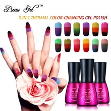 Beau Gel Chameleon Temperature Color Change UV Gel Nail Polish 3 in 1 Mood Thermal Color Change UV Polish Gel Varnish 7ml/pc