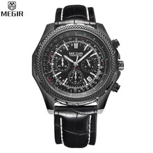 MEGIR Brand Men Watches Pilot Chronograph 24 Hours Function Watch Auto Date Leather Strap Black Quartz Watch relogios /ML2007-5