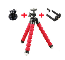 Flexible Octopus Tripod Bracket Stand Mount + phone holder + adapter for Gopro Hero 4 3 selfie stick monopod mobile phone stand