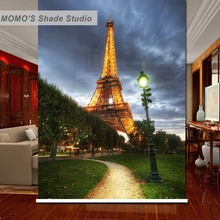 MOMO Eiffel Tower Window Curtains Roller Shades Blinds Thermal Insulated Blackout Fabric Custom Size, Alice 81-85