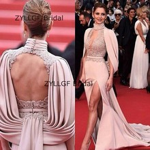 ZYLLGF Bridal Sexy Mermaid Open Back Celebrity Gowns Sweep Train High Slit Red Carpet Dresses With Appliques TS422