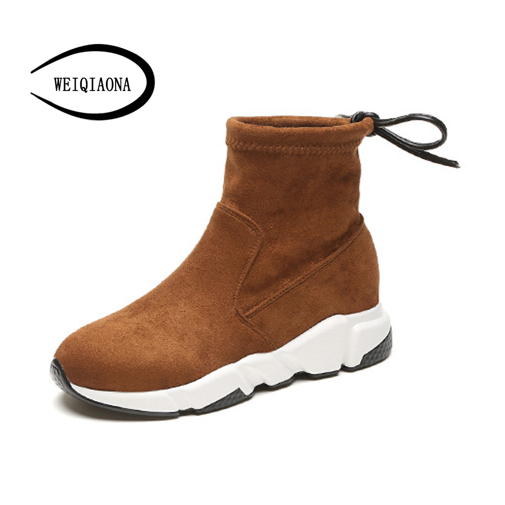 2017 Autumn New Suede short Boots Thick Bottom Round Toe Solid Color Ankle boots Women Fashion casual Shoes <br>