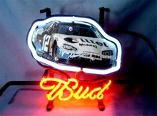 "NEON SIGN board For Budweiser Autographed Nascar #12 Racing Car GLASS Tube BEER BAR PUB store display Shop Light Signs 17*14""(China)"