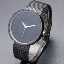 Male Sport Watch Black/White Dial Modern Men Women Wrist Watch with Mesh Stainless Steel Band Super Slim Bracelet Watches