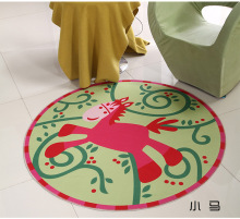 Cartoon Horse Round Mat 60/80/100/120/160CM alfombras dormitorio Carpet Living Room Deurmat rugs Swivel chair Mats tapis chambre