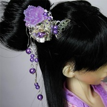 [wamami] 699# OOAK Purple&Butterfly Classical Ancient Hairpin 1/4 MSD AOD DOD BJD Dollfie(China)
