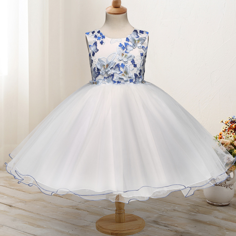 Birthday Party Wedding Ball Gown Sleeveless Butterfly Pattern Princess Girl Mesh Dress With Bows for 8 Year Kids White Pink<br>