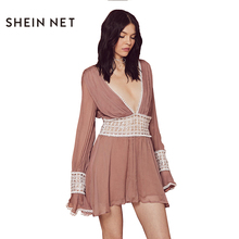 Sheinnet Apparel Chic Patchwork See Through Dress Women Clothing Sexy Deep V-Neck Summer Dress Cute Butterfly Sleeve Vestido(China)