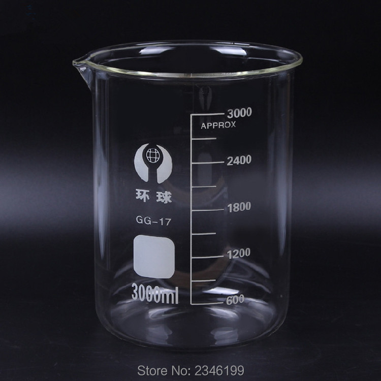 1PC 3000ML High Quality Clear Glass Beaker With Scale High Boron Measuring Cup For Chemistry Experiment School Lab Free Shipping<br>