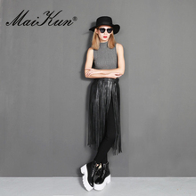 Western Punk Boho Style Long Tassel Belts For Women Girdle Female Black Leather Belts Wild Skirt Style High Waist Belt(China)