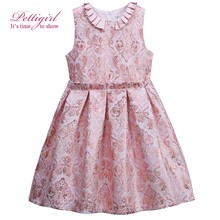 Pettigirl A-line Girls Pink Flower Pleated Dress Jacquard Summer Baby Dresses For 3-8Y Hot Sale Kids Clothing