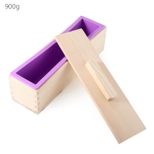 New Arrival 900g/1200g Rectangular Solid DIY Handmade Silicone Soap Crafts Mold Wooden Box with Cover Baking and Pastry Tools