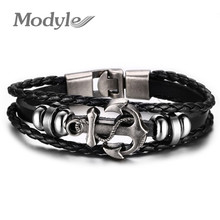 Modyle Fashion Jewelry Multilayer Stainless Steel Anchor Bracelet for Women Leather Bracelets & Bangles Men Jewelry